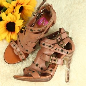 Dolce Vita Tan Leather Strappy Studded Heels